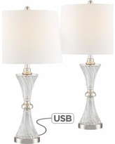 Lucas Chrome and Glass Table Lamp with USB Port Set of 2