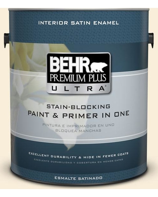 BEHR ULTRA 1 gal. #380E-1 Mist Yellow Satin Enamel Interior Paint and Primer in One
