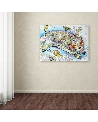 "World Menagerie 'White Cat' Graphic Art Print on Wrapped Canvas WRMG1330 Size: 24"" H x 32"" W"