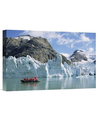 "East Urban Home 'Tourists at Glacier Southern Greenland Fjords Prins Christian Sound Greenland' Photographic Print EAUB5065 Size: 12"" H x 18"" W Format: Wrapped Canvas"