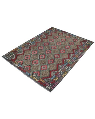 """One-of-a-Kind Ceporah Hand-Knotted 1990s 8'2"""" x 9'8"""" Wool Area Rug in Green/Charcoal"""