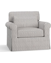 York Roll Arm Slipcovered Deep Seat Armchair, Down Blend Wrapped Cushions, Vintage Stripe Black/Ivory