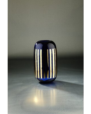 """Elef Indoor / Outdoo Glass Table vase Mercer41 Color: Blue, Size: 11.02"""" H x 5.9"""" W x 5.9"""" D"""