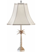 Tropical Palm Tree Pewter Table Lamp with Off-White Shade