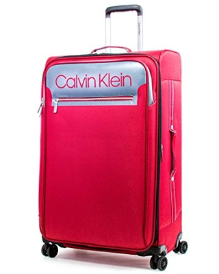 Calvin Klein Flare Softside Spinner Luggage, Grey/Red, 29 Inch