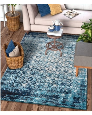 """Well Woven Sydney Vintage Manchester Modern Abstract Distressed Royal Blue 9'3"""" x 12'6"""" Area Rug"""