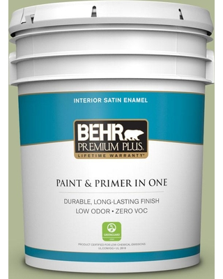 BEHR PREMIUM PLUS 5 gal. #PPU11-08 Moss Print Satin Enamel Low Odor Interior Paint and Primer in One