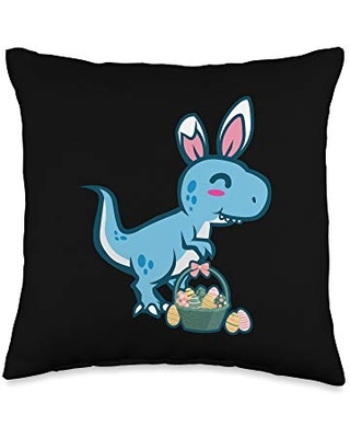 Easter Holiday Design Apparel Gifts Cute T-Rex Dinosaur Bunny Egg Hunting Funny Easter Throw Pillow, 16x16, Multicolor