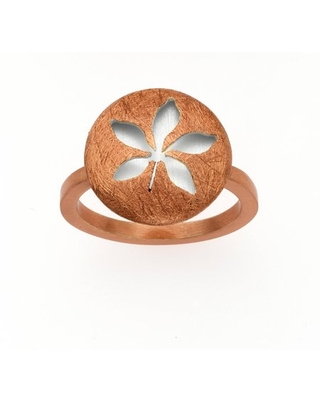 14kt Rose Gold-Plated and Sterling Silver Leaf Ring