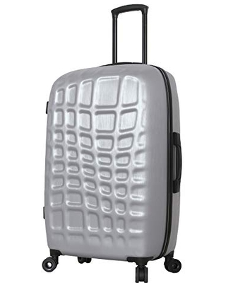 Mia Toro Italy Abstract Croco Hardside Spinner Luggage 28'' Inch, Silver, One Size
