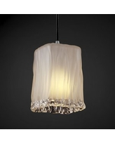 Square with Rippled Rim Shade Justice Design Group Lighting GLA-8816-26-AMBR-CROM-BKCD Veneto Luce Amber Polished Chrome Small 1 Pendant