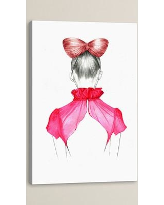 """House of Hampton Bow Hair Girl Painting Print on Wrapped Canvas HOHN5321 Size: 18"""" H x 12"""" W x 1.5"""" D"""