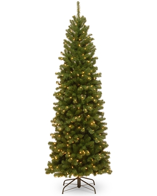 7.5 ft. North Valley Spruce Pencil Slim Tree with Clear Lights (7.5 ft. Spruce Pencil Slim Tree w/ Lights)