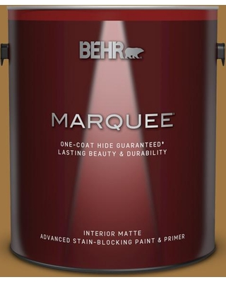 BEHR MARQUEE 1 gal. #310F-6 Goldenrod Tea Matte Interior Paint and Primer in One
