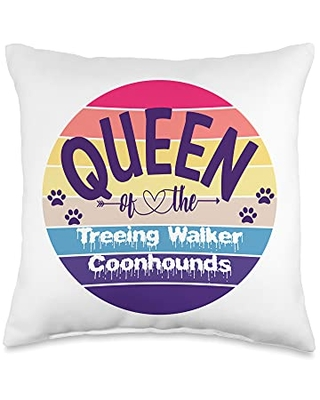 Dog Breed Graphics and Decor Co. Queen Of The Treeing Walker Coonhounds Throw Pillow, 16x16, Multicolor