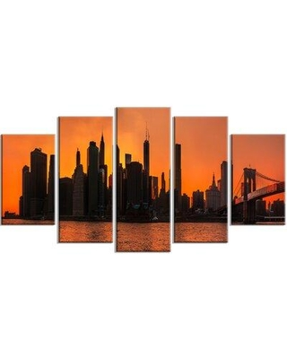 Design Art 'Silhouettes of Manhattan Panorama' 5 Piece Photographic Print on Wrapped Canvas Set, Canvas & Fabric in Orange | Wayfair PT14361-373