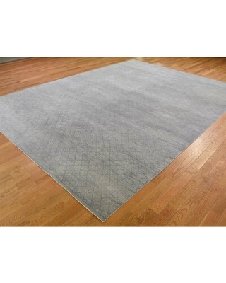 """One-of-a-Kind Wentz Hand-Knotted 2010s Gray 8'10"""" x 11'10"""" Area Rug"""