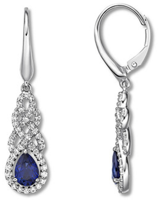 Jared The Galleria Of Jewelry Blue & White Lab-Created Sapphire Earrings Sterling Silver