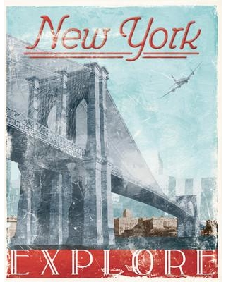 """Stupell Industries 'Explore New York NYC' Graphic Art Print cw-1244_cn_0 Size: 15"""" H x 10"""" W Material: Wood"""