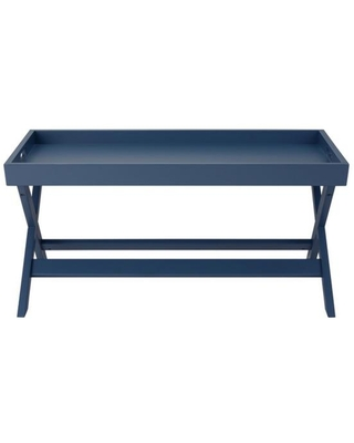 StyleWell Rectangular Steel Blue Wood Tray Top Coffee Table (40 in. W x 18 in. H)