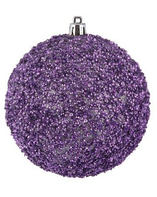 The Holiday Aisle Beaded Drilled Ball Ornament X111861999 Color: Orchid