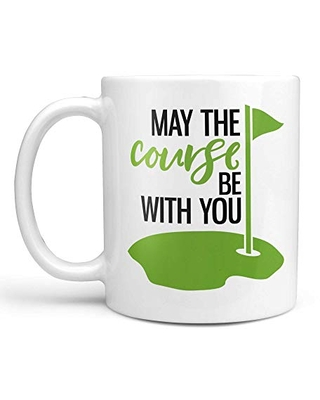 May the Course Be With You Golf Coffee Mug or Coffee Cup   Golfing Coffee Mug or Cup