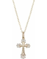 Two Tone 10k Gold Filigree Cross Pendant Necklace, Women's