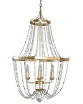"""Gabby 4 - Light Candle Style Empire Chandelier w/ Beaded Accents, Wood/Metal in Gold/White, Size 35""""H X 24""""W X 24""""D 