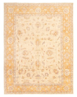 """One-of-a-Kind Tobia Hand-Knotted 2010s Chobi Ivory/Beige 9'3"""" x 11'10"""" Wool Area Rug"""