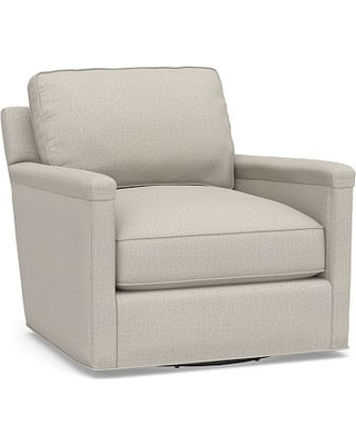 Tyler Square Arm Upholstered Swivel Armchair without Nailheads, Down Blend Wrapped Cushions, Performance Heathered Tweed Pebble