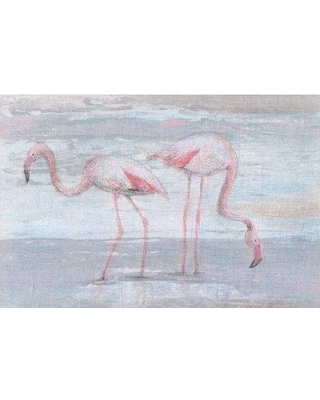 """Marmont Hill 'Fishing Flamingos II' Painting Print on Wrapped Canvas MH-JULFRM-138-C- Size: 24"""" H x 36"""" W x 1.5"""" D"""