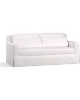 "York Square Arm Slipcovered Deep Seat Sofa 79"" with Bench Cushion, Down Blend Wrapped Cushions, Twill White"