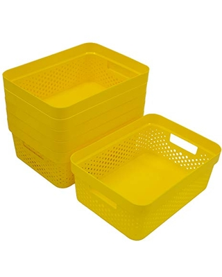 Glad Plastic Basket Set, Value Pack of 6   Open Storage Bins for Shelves, Bathroom, Pantry, Closet   Nesting Organizer Boxes with Handles, 2 Gallon, Yellow
