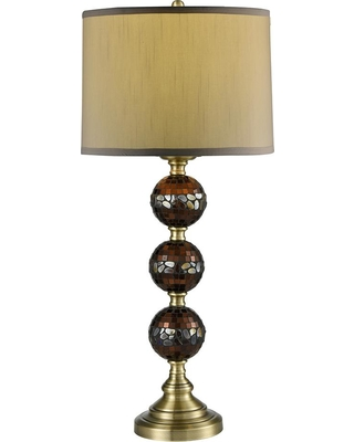Springdale Lighting 32 in. Dunford Antique Brass Mosaic Table Lamp with Fabric Shade