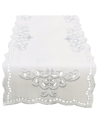Xia Home Fashions Hampton Embroidered Cutwork Table Runner, 15 by 70-Inch, White