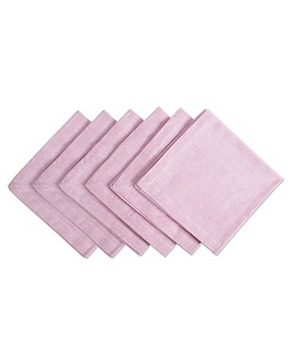 DII 100% Cotton Chambray Kitchen Tabletop Collection, Napkin, Rose 6 Count