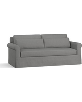 """York Roll Arm Slipcovered Deep Seat Sofa 84"""" with Bench Cushion, Down Blend Wrapped Cushions, Basketweave Slub Charcoal"""