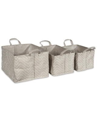 DII Assorted Coated Tribal Chevron Laundry Bins (Set of 3) (Stone Brown/Cream)