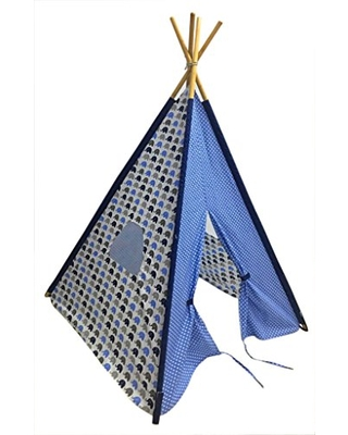 Bacati Elephants Teepee Tent for Kids, 100% Cotton Breathable Percale Fabric Cover, Blue/Grey
