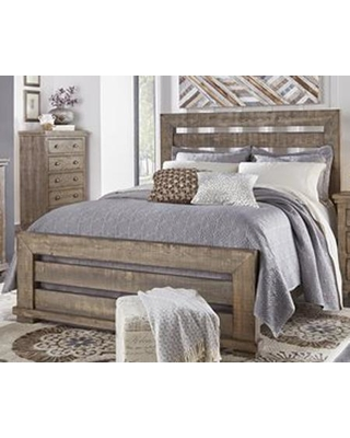 Willow P635-60-61-78 Queen Sized Slat Bed with Headboard Footboard and Side Rails in Weathered