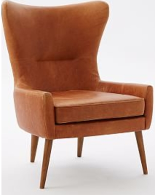 Erik Wing Chair, Leather, Burnt Sienna