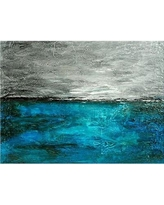 "Art Excuse 'Aqua Pose' Framed Painting on Canvas in Blue/Gray/Turquoise AE103 Size: 24"" H x 36"" W"