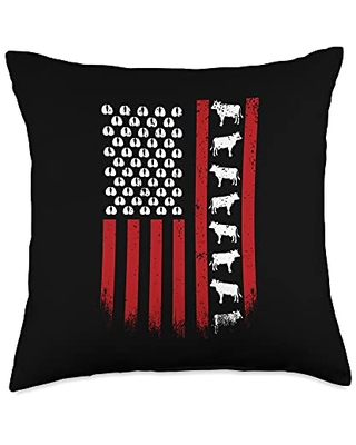 Cow US Flag 4th Of July American Flag Animal Lover Patriotic American USA 4th of July US Flag Cow Throw Pillow, 18x18, Multicolor