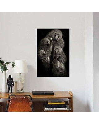 """East Urban Home 'Baboons """"United""""' Graphic Art Print on Canvas EBHU7316 Size: 26"""" H x 18"""" W x 0.75"""" D"""