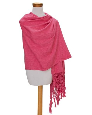 Handwoven Cotton Shawl in Pink from Guatemala