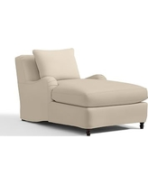 Carlisle Slipcovered Chaise, Down-Blend Wrap Cushions, Twill Parchment