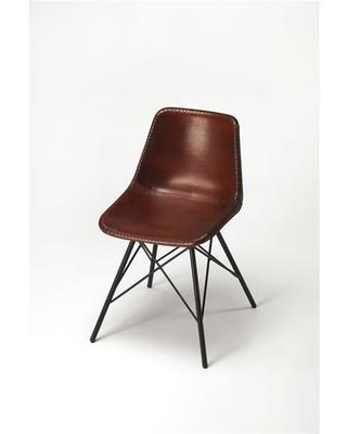 Inland Collection 3673344 Side Chair with Modern Style Iron Metal Material and Leather Uphlostery in Brown Leather