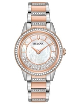 Bulova Women's Two-Tone Turnstyle Crystal Accent Watch with Mother-of-Pearl Dial 98L246