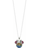 """Disney Minnie Mouse Sterling Silver Rainbow Crystal Necklace, Women's, Size: 16"", Blue"""