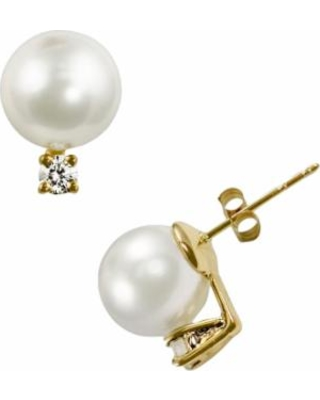 14k Gold Akoya Cultured Pearl and Diamond Accent Stud Earrings, Women's, White